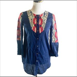 Anthropologie Hei Hei Embroidered Tunic Top